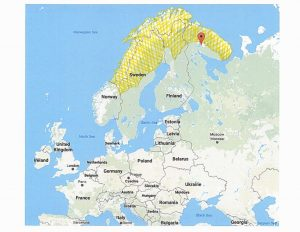 Native Scandinavians roamed the areas in yellow, approximated on this map.
