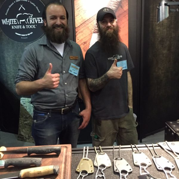 White River Knife and Tool had two significant beard-wearing men manning its booth.